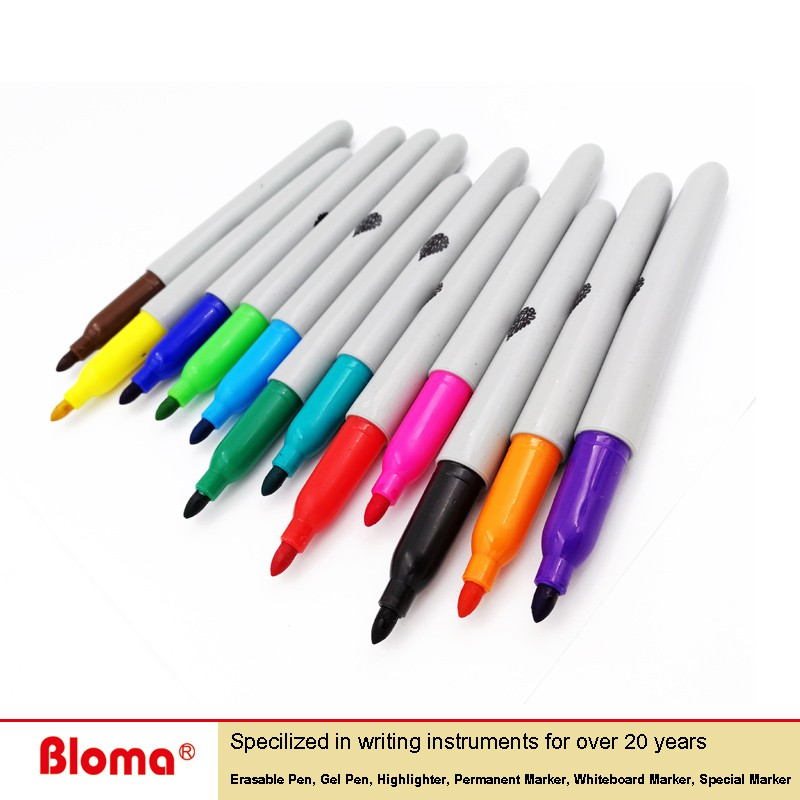 China Factory wholesale cheap marker pen in 12 assorted colors and fine point marker pen