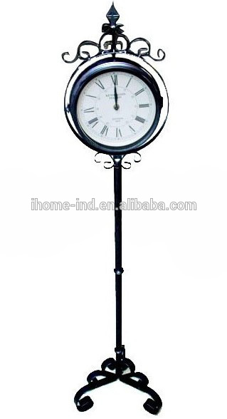 Garden Decor Metal Floor Standing Clock Outdoor Waterproof Clock