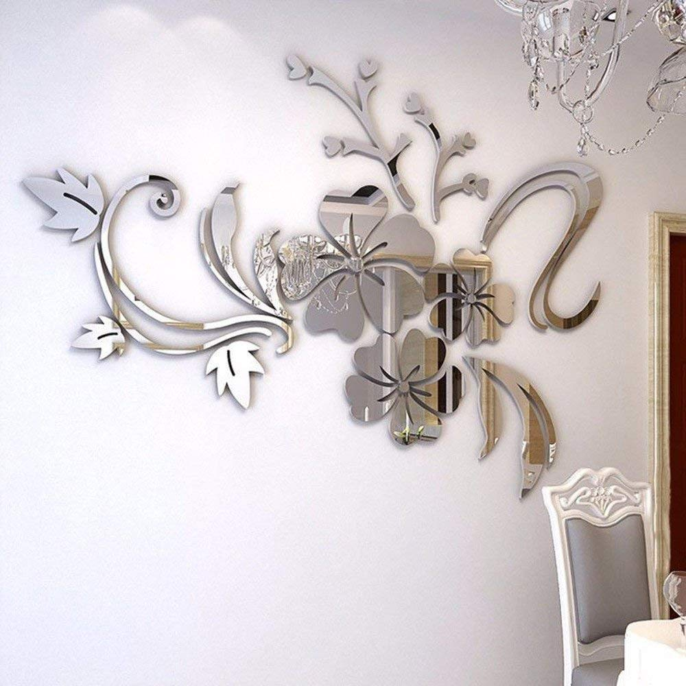 Rumas 3D Flower Mirror Wall Stickers for Kids Room - Art DIY Romantic Home Wall Decor for Wedding Birthday Party - Removable Wall Murals Wall Decals for Living Room Bedroom - Silver Gold (Silver)