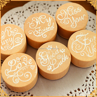 New Product 6pcs/set Mini English Alphabet Thanks Greetings Round Wooden Rubber Stamp