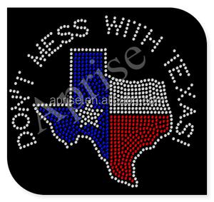 Texas rhinestone transfer design iron on for T shirt