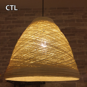 Beige handmade paper hanging lamp coffee shop leisure paper lamp