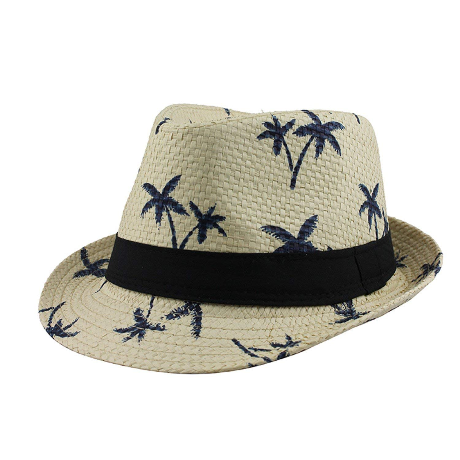 699e2c9c1e1 Get Quotations · Madehappy Casual Sun Hats Straw Men Beach Summer Fashion  Hats For WCaps Trilby Gangster Cap Jazz