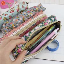 High Quality Mini Retro Flower Floral Lace Pencil Case,pencil bag school supplies Cosmetic Makeup Bag Zipper Pouch Purse