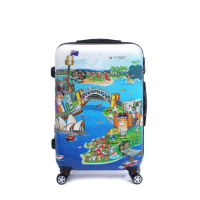 abs pc printing luggage from China supplier,best selling new design trolley suitcase