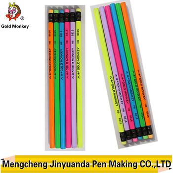 New type neon wooden hb pencil with eraser Writing Instruments