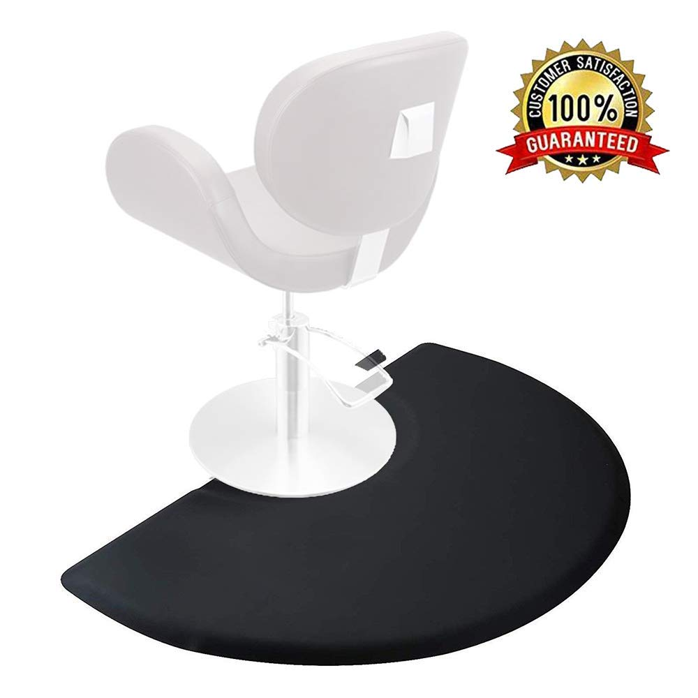 "Salon Mat 3ft x 5ft Barber Shop Chair Anti Fatigue Floor Mat for Hair Styling Semicircle Comfort Salon Mat 1/2"" Thick Black"