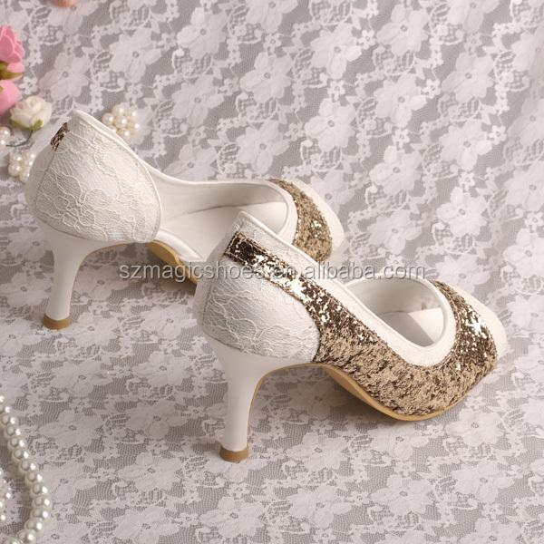 Scarpe 8 Ballo Glitter Oro Fine Tacco Pizzo Centimetri Di Con Anno 4WSfSna