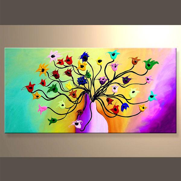 el ms reciente de flores hechas a mano lienzo cuadros de arte para la decoracin - Cuadros Originales Hechos A Mano