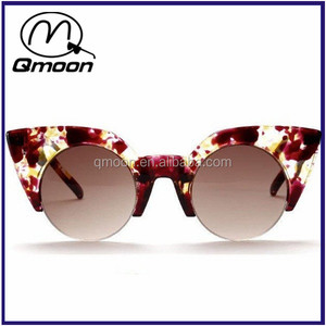 Half frame flower big size cat eye sunglass women bulk buy made in china sunglasses