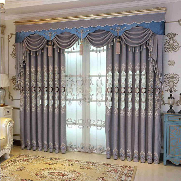 Thick Embroidered Valance Curtain Living Room Luxury European Style Blackout Window Curtains With Attached Grey