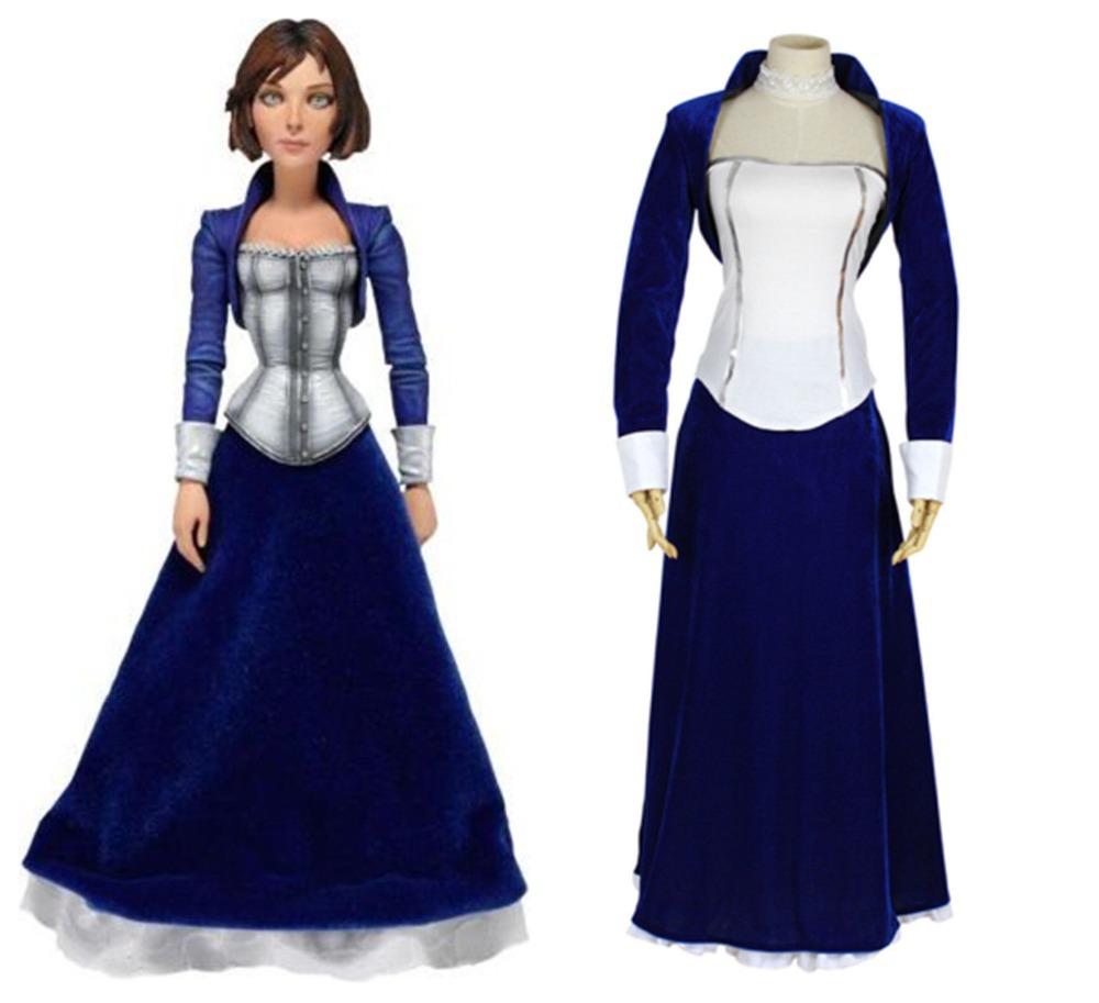 ea875ddef64ddf Get Quotations · Newest Bioshock Infinite Elizabeth Velvet Blue and White Dress  Cosplay Costume,Plus size S-