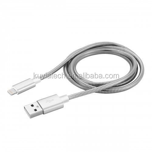 Kuyia Metal Stainless Steel Spring Woven 8Pin Charging Data Cable for iPhone