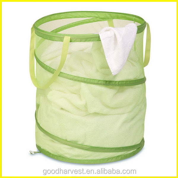 Large Lime Green Mesh Pop Open Laundry Hamper with Handles