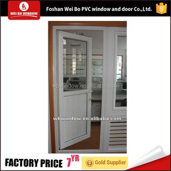 Good Quality Office Entry Door Half Pvc And Half Glass Door Casement