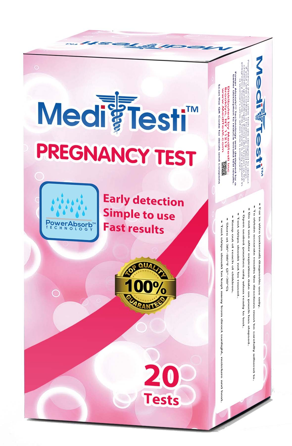 MediTesti™ Pregnancy Test - Early Detection with Power Absorb Technology - Includes 20 Pregnancy Test Strips (HCG Test)