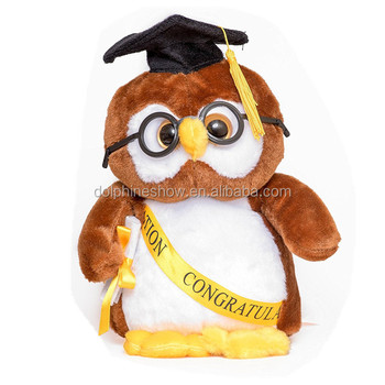 Graduation Gifts Souvenir For Kids Owl Plushtoy With Cap And Diploma In Hand
