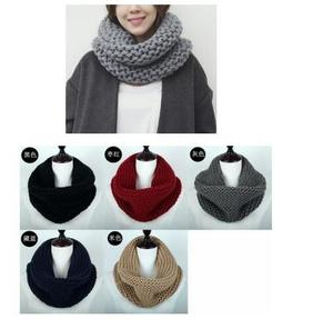Women One Circle Hand Knit Scarf Infinity Scarves Winter Muffler