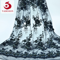 2017 new design haute couture handmade beaded lace 3d embroidery/3d flower tulle lace