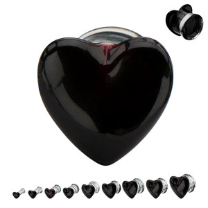 Ear plug body piercing jewelry Clear Saddle Fashion Double flared black helix piercing heart shaped tunnel plugs
