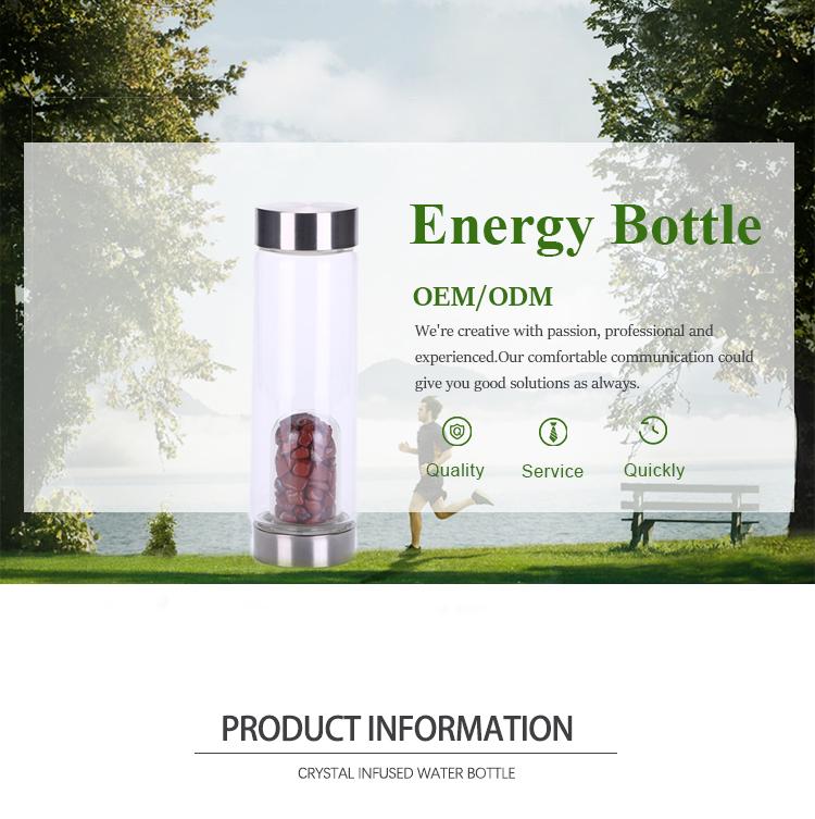 Nuovo disegno di cristallo di Energia di pietra di ghiaia acquario bottiglia di acqua con MOQ Basso per la consegna veloce