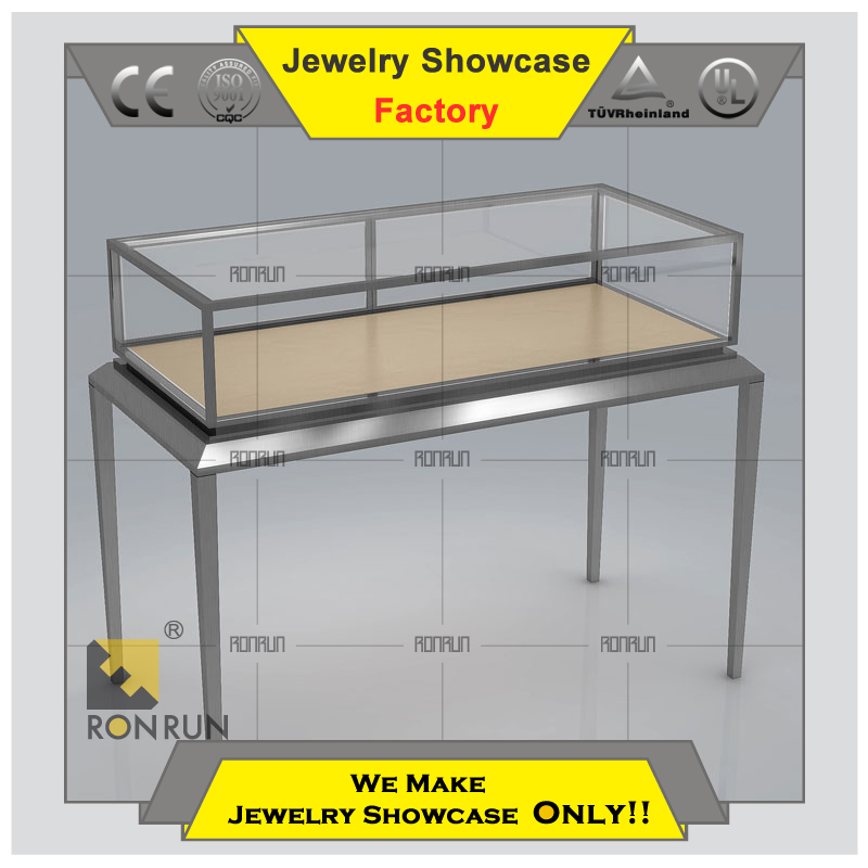 Stainless steel tempered glass used jewelry display cases showcase with CE led lighting