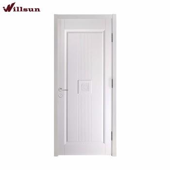 Modern Interior Single Panel White Polish Mdf Wood Door Simple