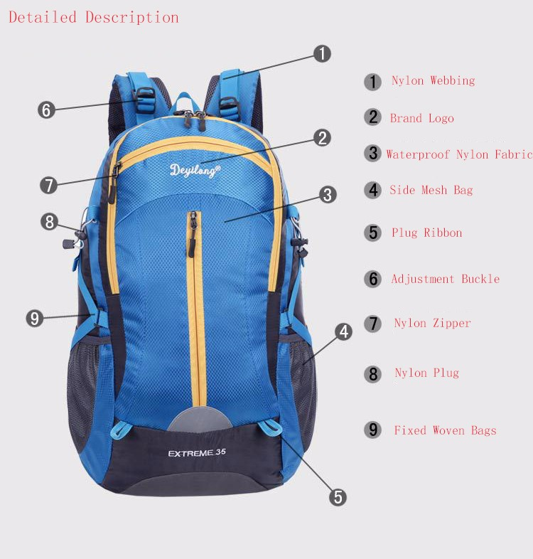 Outdoor Backpack 35L Outdoor Water Resistant Sport Backpack Hiking Bag Camping Travel Pack Mountaineer Climbing Sightseeing Hike