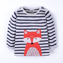 Wholesale High Quality Cotton Long Sleeve Animal Striped Baby Clothes Kids T Shirt
