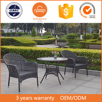 Fashion Outdoor Garden Furniture 2 Seats Hollow Woven Black Rattan Wicker Coffee Shop Round Rotating Dining Table And Glass Top Buy Round