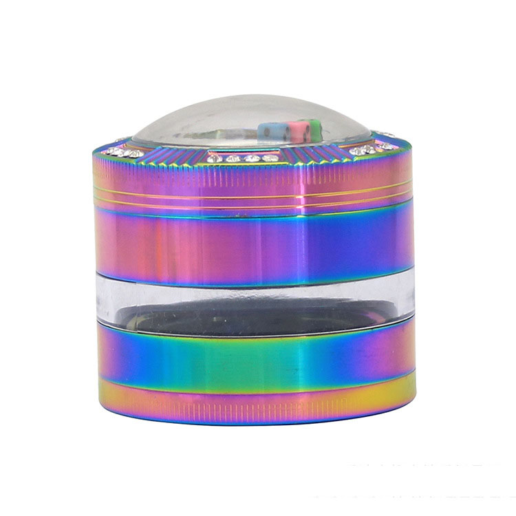 63mm zinc alloy colorful dice lid tobacco grinder with side of transparent