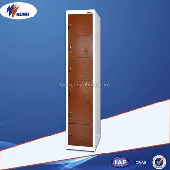 vertical metal storage cabinet soccer lockers 6 door with hinges for clubs