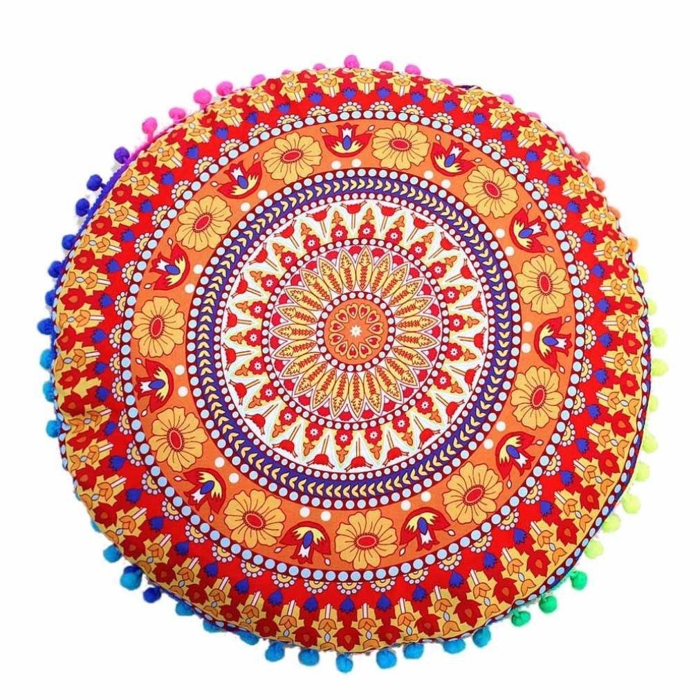 FAPIZI Clearance❀Pillow case❀43x43cm Indian Mandala Floor Pillows Round Bohemian Cushion Pillows Cover Case Cushions (A)