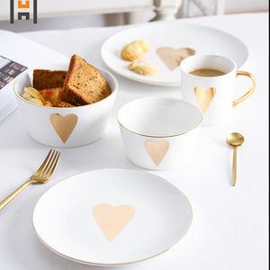 Ceramic heart plate dinnerware procelian tableware with gold decal