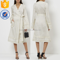 Cream & Pale Blue Striped Wrap Dress OEM/ODM Women Apparel Clothing Garment Wholesaler Garment