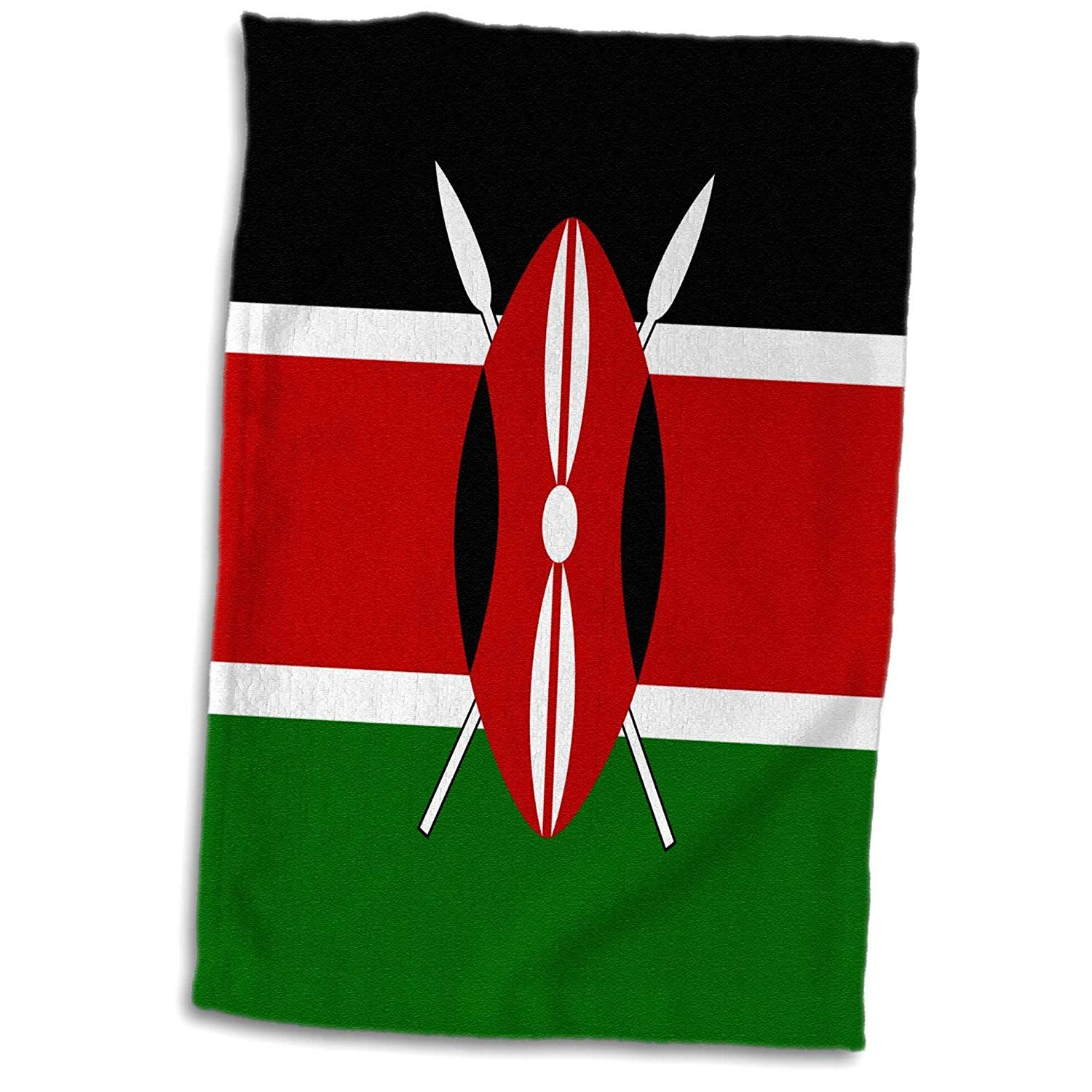 "3D Rose Flag of Kenya-Kenyan Black Red Green with Maasai African Warrior Shield Spears-East Africa World Towel, 15"" x 22"", Multicolor"