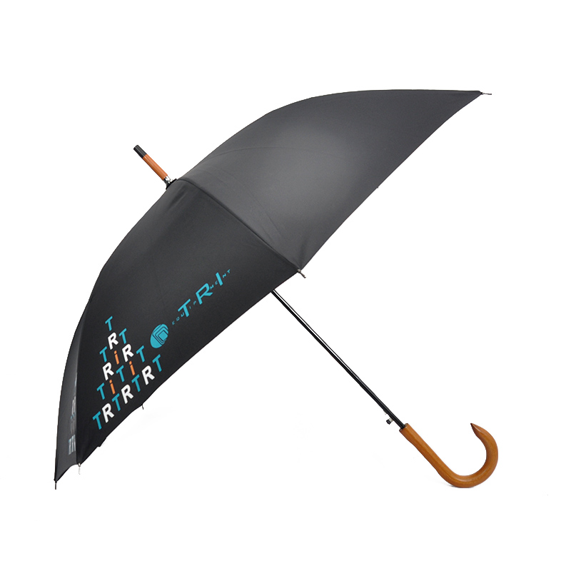 Guangzhou Oem Print Logo Hanging Umbrella Women Ladies Mens Long Sunshade Low Prices Paraplu Straight Wooden Shaft Wood Umbrella