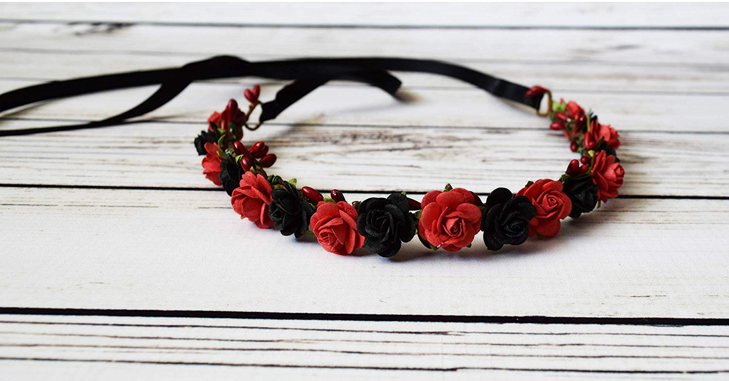 Red Black Flower Crown - Boho Flower Crown - Halloween Crown - Day of the Dead Headpiece - Renaissance Festival Crown - Red Rose Headband
