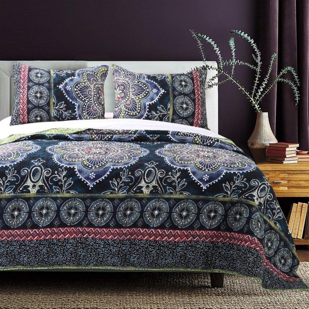2 Piece Girls Navy Blue Medallion Quilt Twin Set, Multi Boho Chic Bohemian Floral Bedding, All Over Gypsy Geometric Flower Scroll Motif Zigzag Chevron Stripe Themed Pattern, Green White Purple Pink