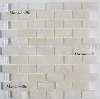 White Onyx Brick Pattern Polished Mosaic Mosaique Mosaico Mozaik Tile Kitchen Backsplash Bathroom Marble Shower Wall
