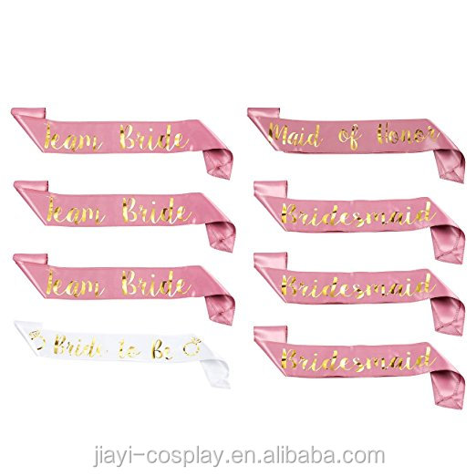 Customized cheap price pink bride to be sash