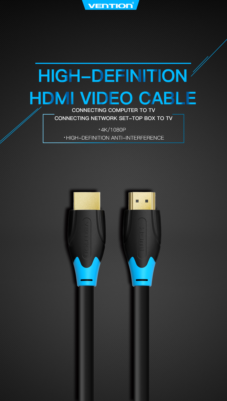 Vention 2018 4k 3d Hdmi Cable 1m 15m 2m 3m 5m 8m 10m 2meter Gold Plated 18gbps Video With