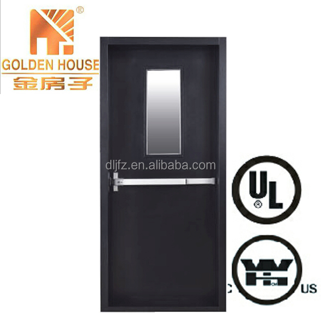steel fire door with panic bar and fixed light