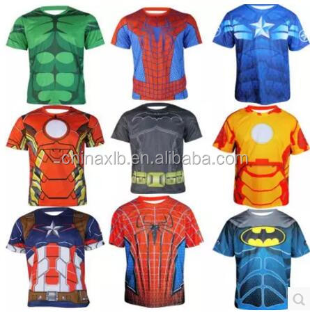 The avengers alliance, superman and spiderman 3 d printed t-shirts with short sleeves