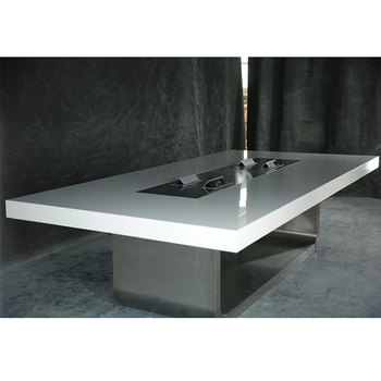 Easy To Installation High End Corian Marble Top Stainless Steel Base - White marble conference table