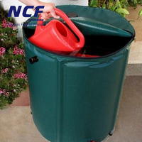 Foldable Flexible Rain Water Barrel PVC Tarpaulin 100 Gallon Green Color