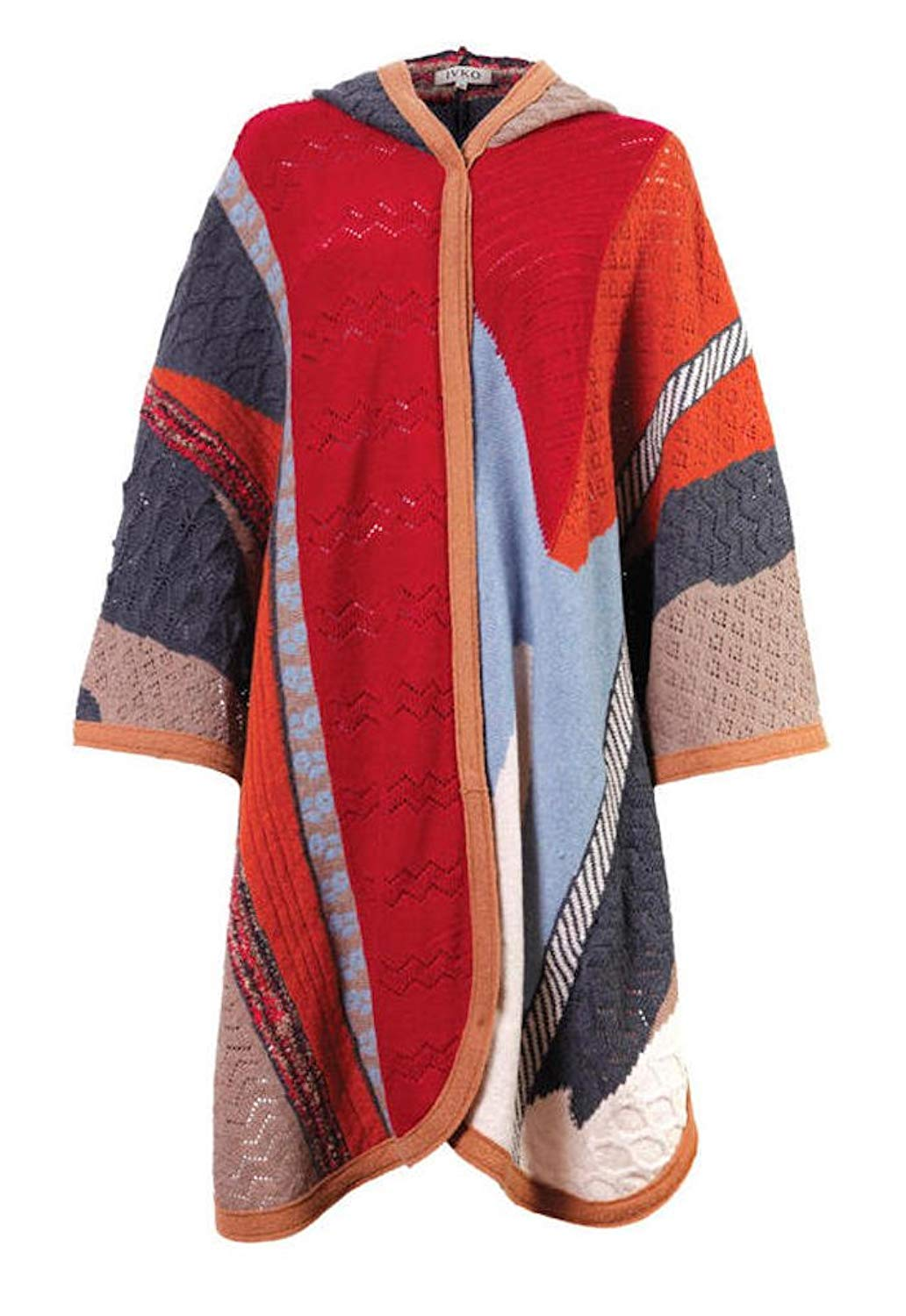 fa08e8cdc0d Get Quotations · IVKO Wool Poncho Intarsia Pattern 52633 With Hood