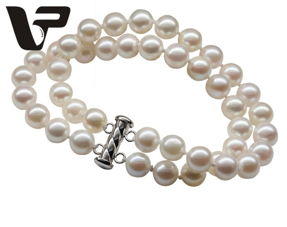 Perfect Round Pearl Bracelets 7.5-8mm Perfect Round South Sea Pearls Double Strand Bracelets women Fine Pearl Jewelry VPMSL-20