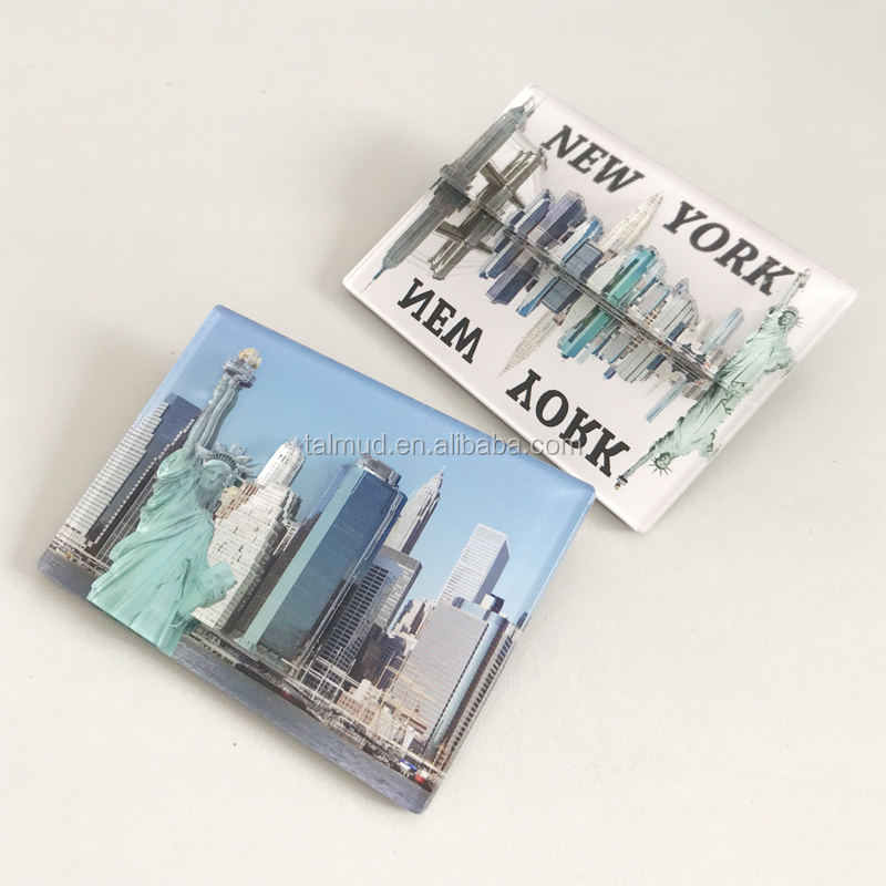 New York Tourist Souvenirs Printed Design 2 Layer Clear Acrylic Fridge Magnet