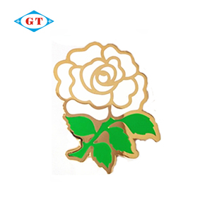 Custom made metal flower rose gold plated hard enamel lapel pin